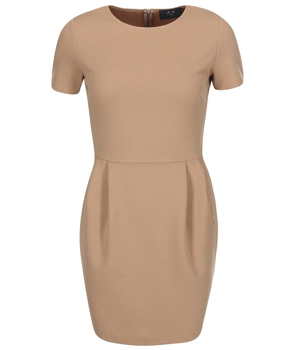 Béžové pouzdrové šaty s krátkým rukávem AX Paris