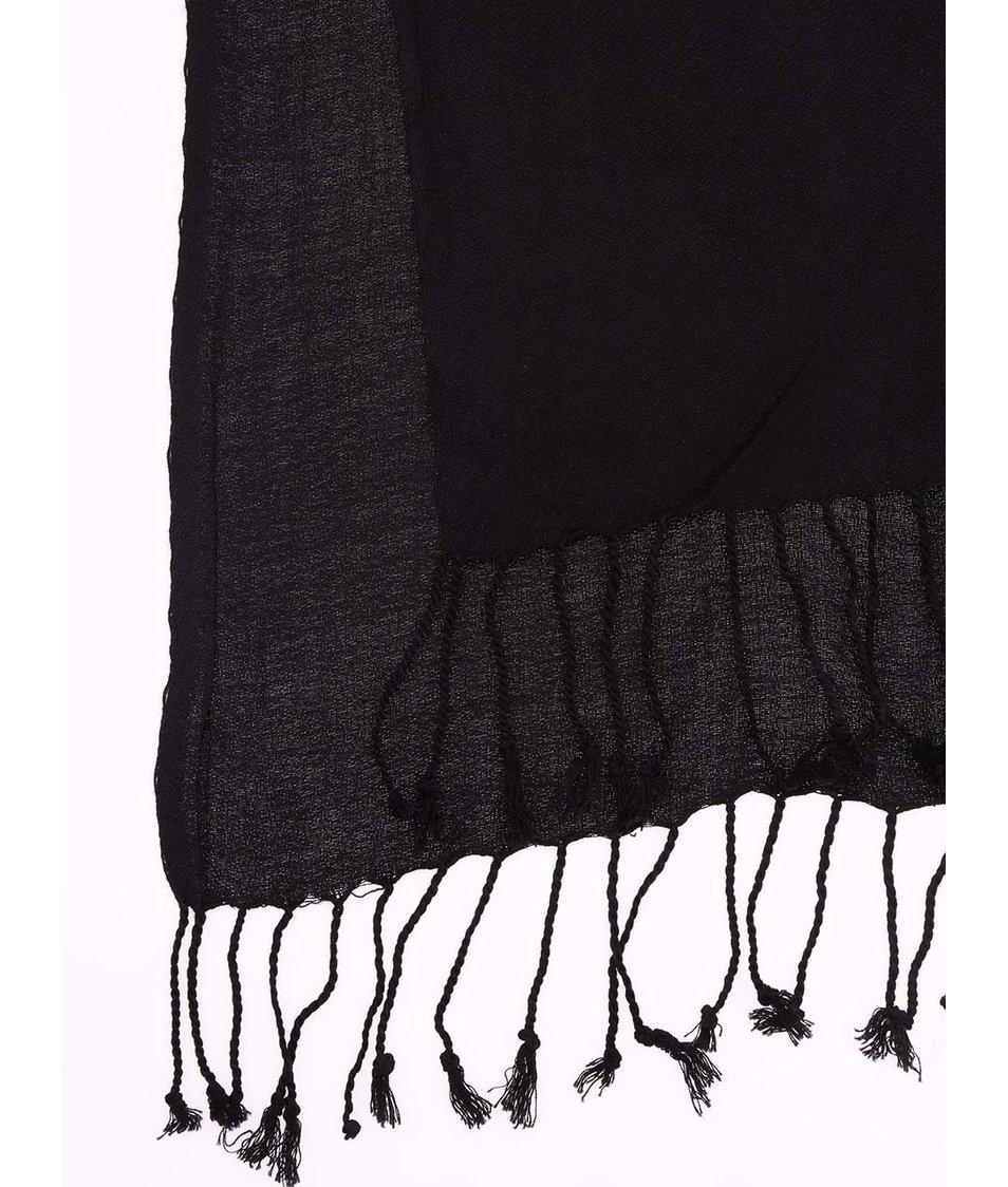 Černá šála s třásněmi Vero Moda Sofia