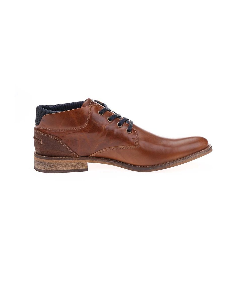 Hnědé pánské kožené nižší kotníkové boty Bullboxer