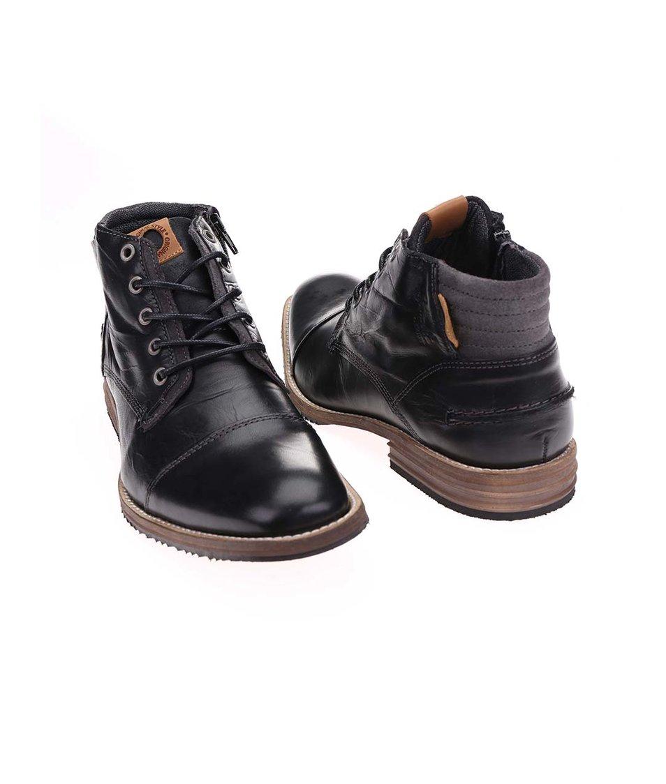 Černé pánské kožené kotníkové boty s zipem Bullboxer