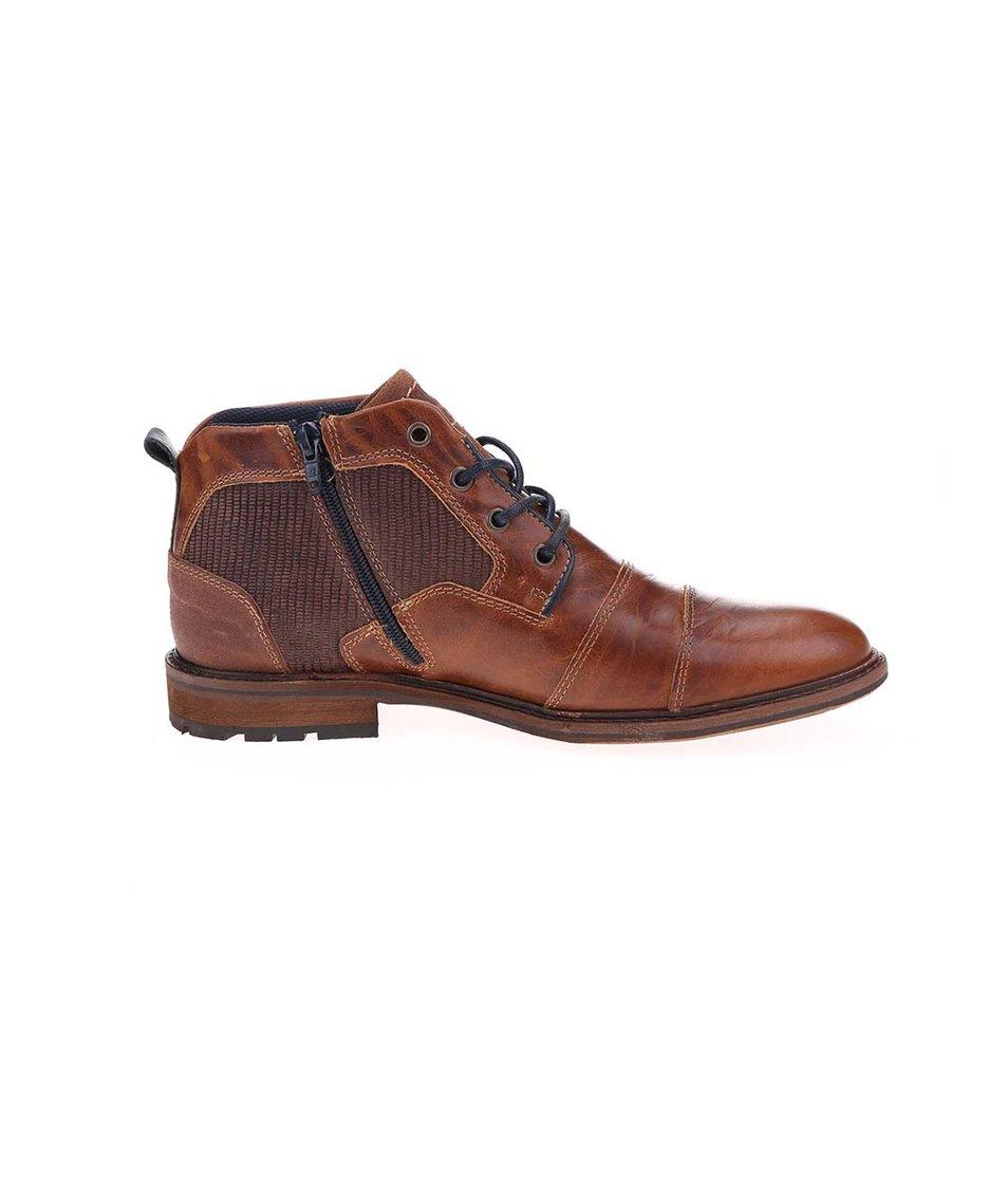 Hnědé pánské kožené kotníkové boty se zipem Bullboxer