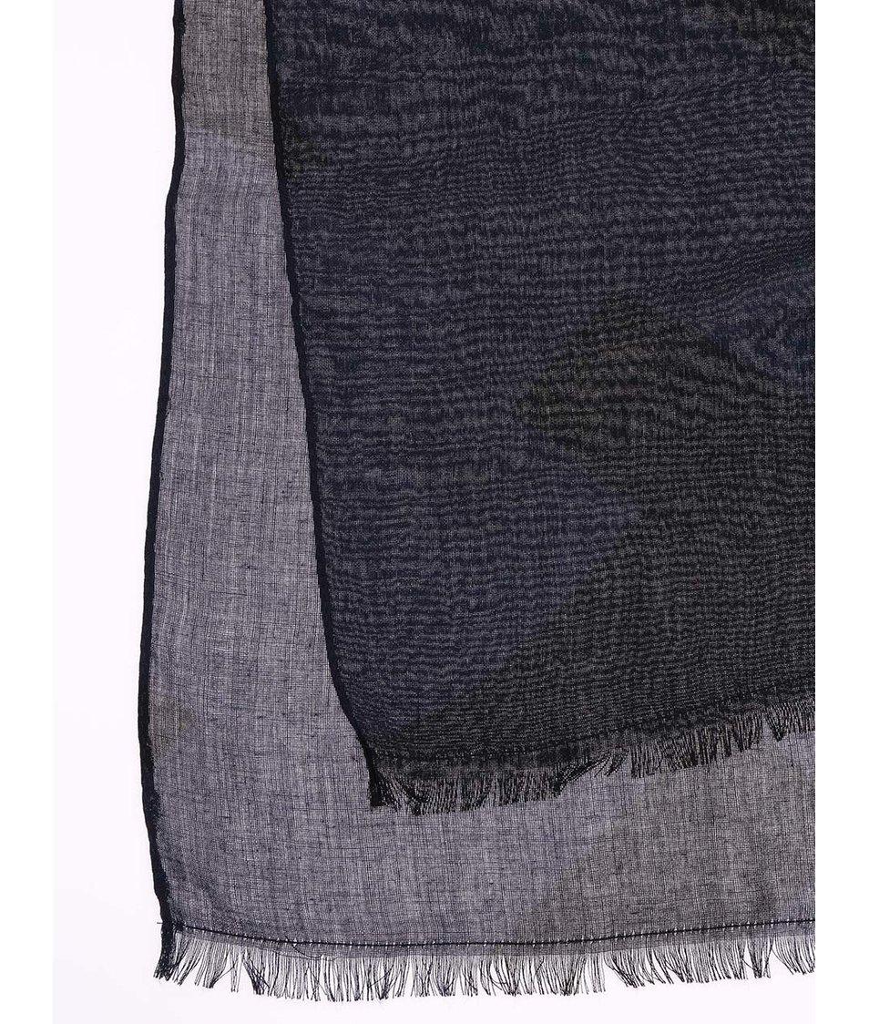 Tmavě modrá šála s černými vzory Vero Moda Hounds