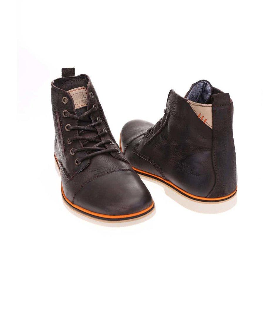 Hnědé pánské kožené kotníkové boty s oranžovým pruhem Bullboxer