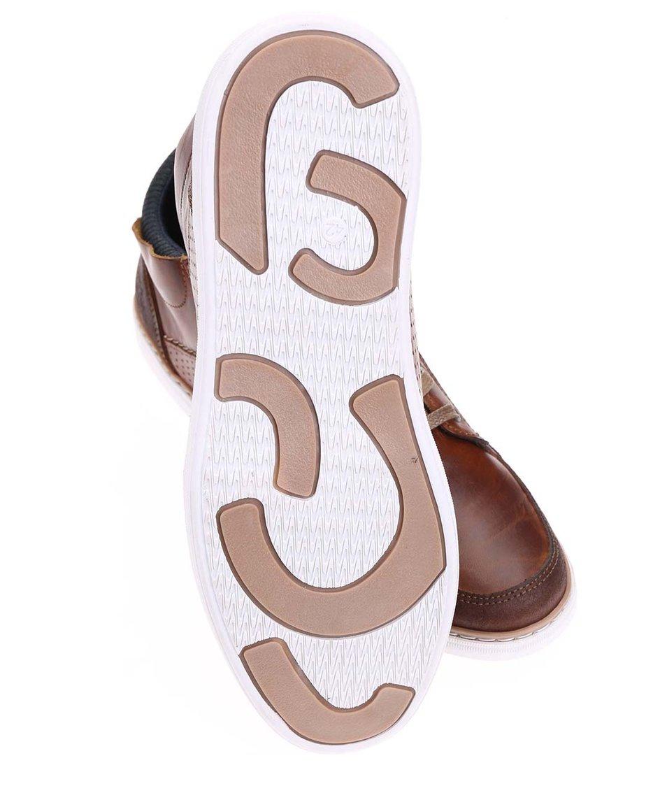 Hnědé pánské kožené kotníkové tenisky s bílou podrážkou Bullboxer