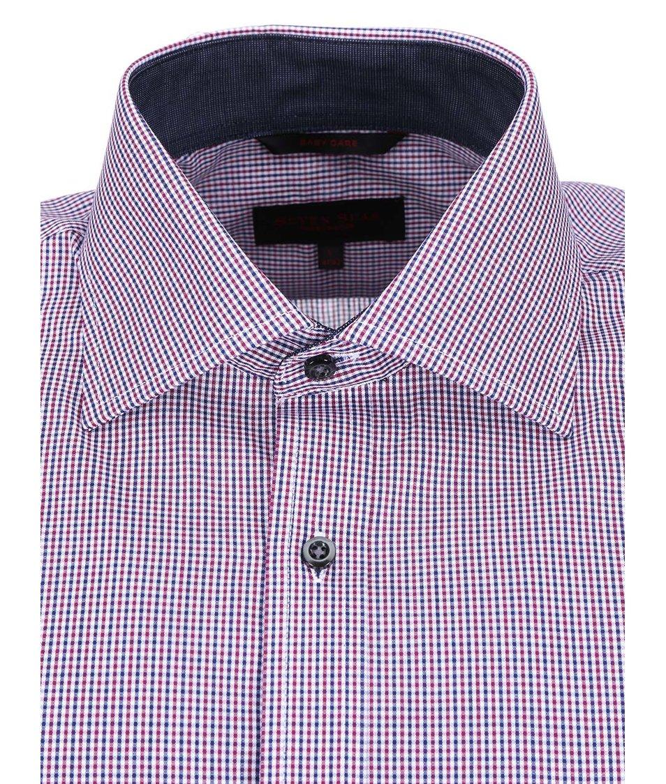 Modro-vínová kostkovaná košile Seven Seas Daniel