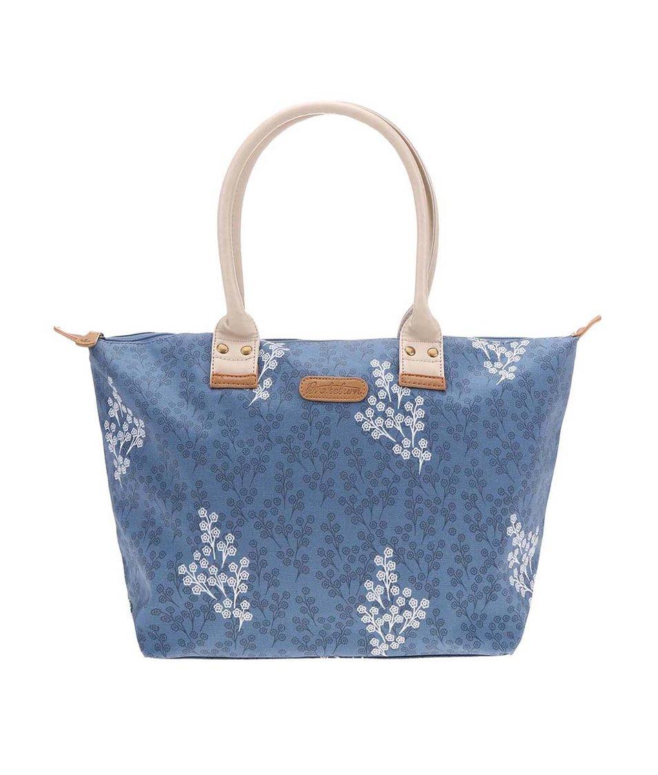 Modrá větší kabelka s potiskem Delicate Flower