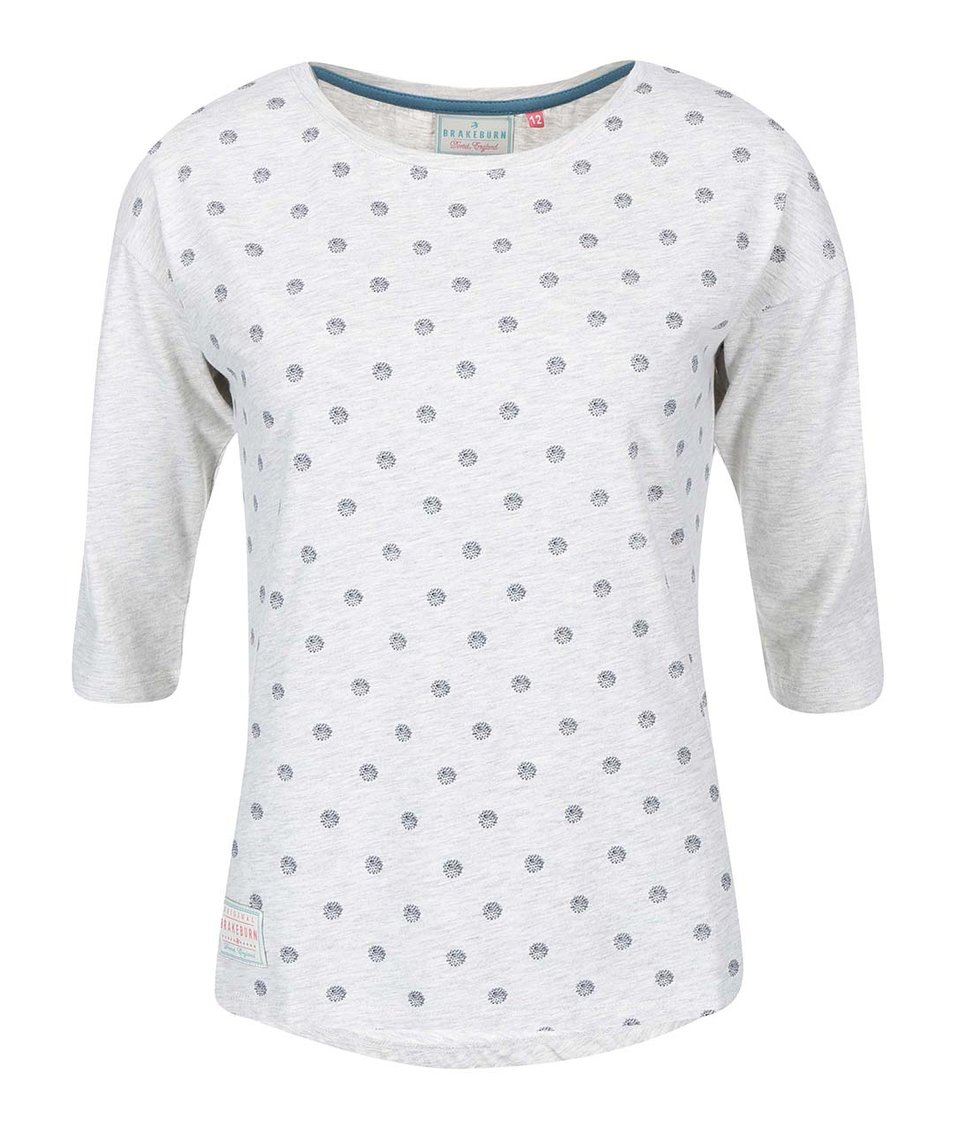 Šedé dámské tričko s 3/4 rukávem Brakeburn Polka Dot