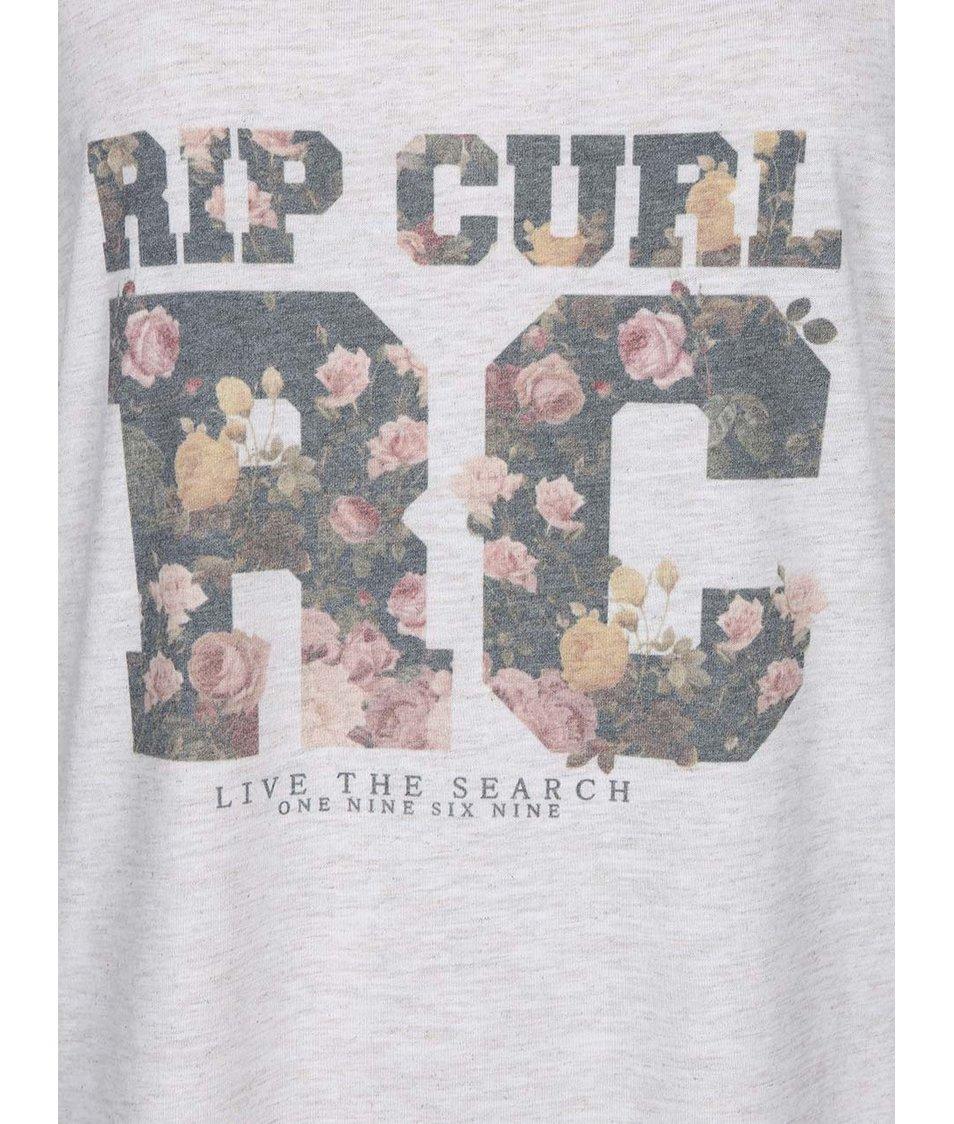 Krémový žíhaný top s barevným potiskem Rip Curl Laura