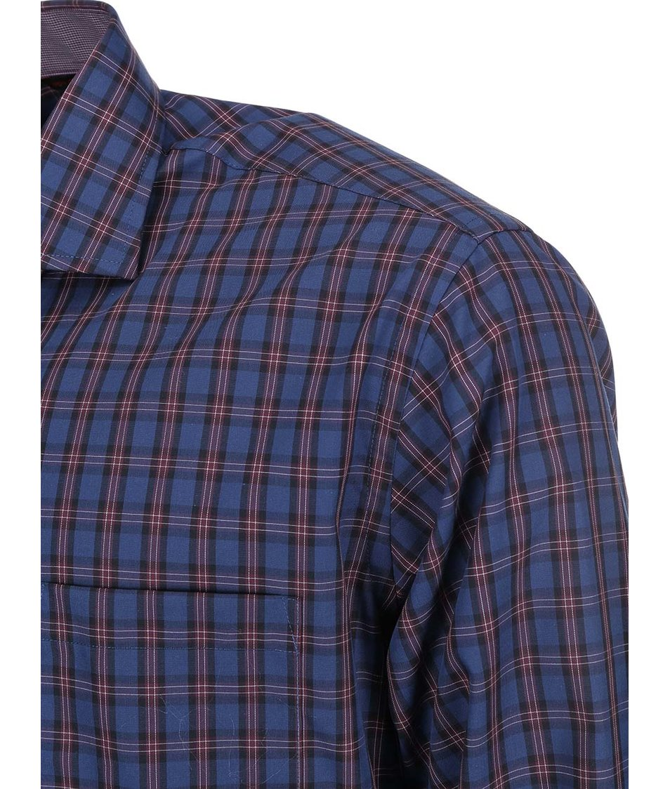 Tmavě modrá károvaná košile Seven Seas Balboa