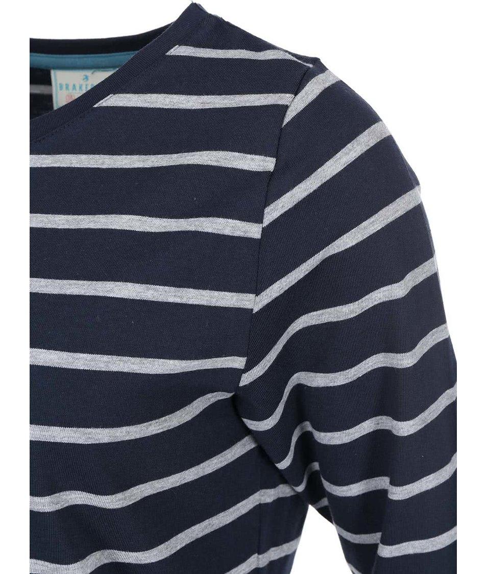 Šedo-modré dámské pruhované tričko Brakeburn Yarn Dyed