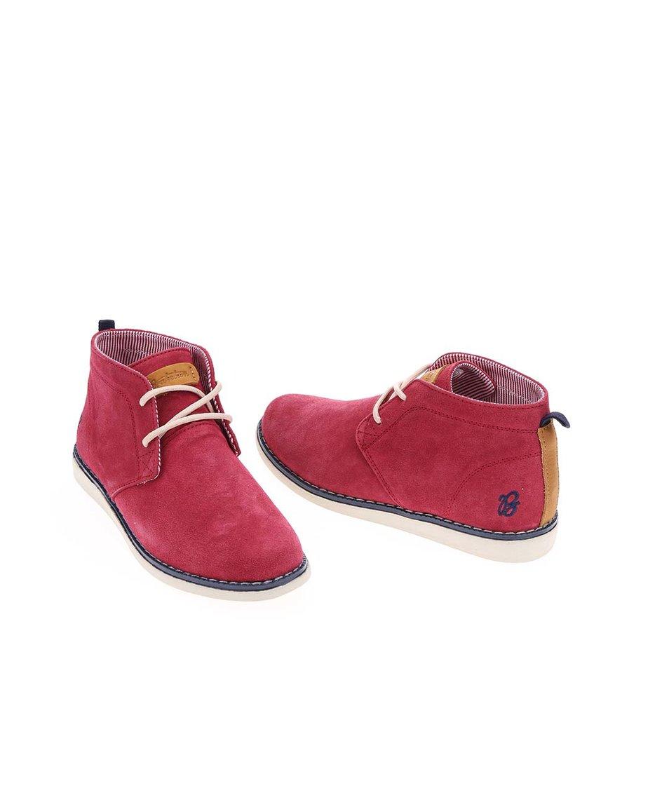 Vínové dámské kožené kotníkové boty Brakeburn Makka