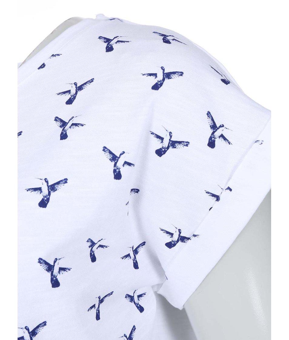 Bílé dámské tričko s ptáčky Brakeburn Hummingbird Boyfriend