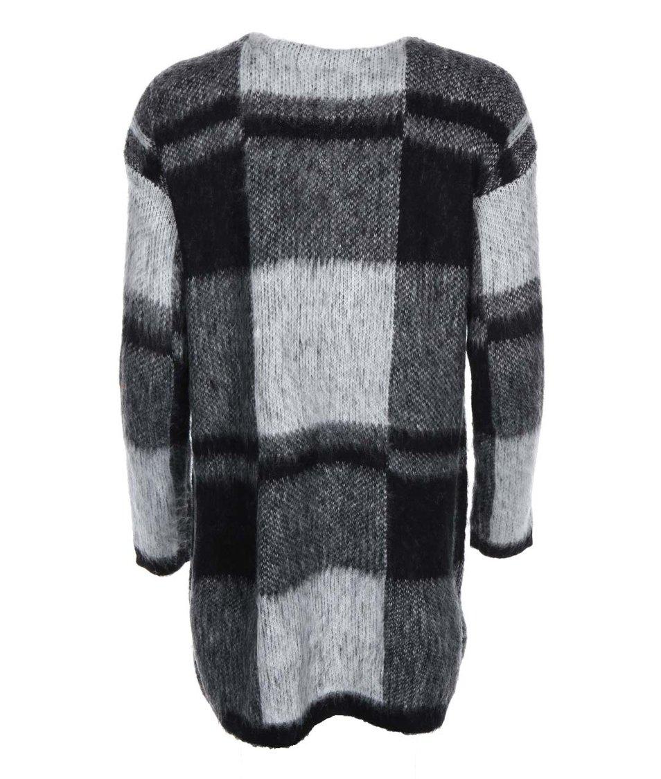 Černý dlouhý kostkovaný cardigan s kapsami Vero Moda Demi