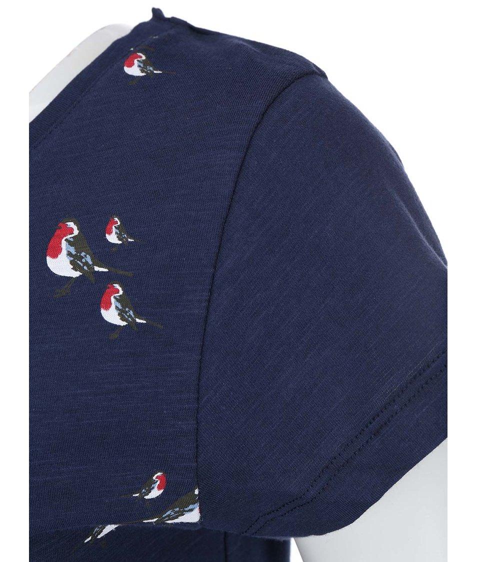 Tmavě modré dámské tričko s ptáčky Brakeburn Little Robin