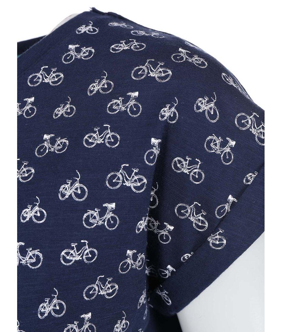 Tmavě modré dámské tričko s bicykly Brakeburn Bicycles