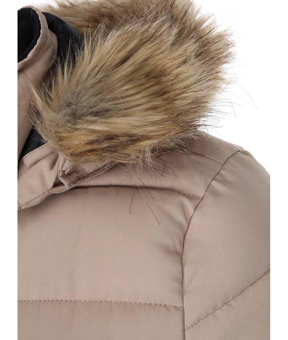 Béžová prošívaná bunda s kožíškem Vero Moda Sandra
