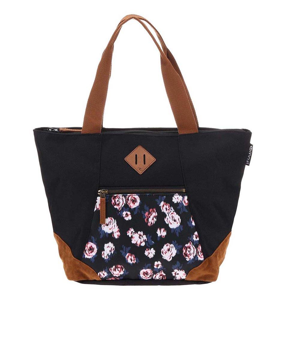 Černý shopper s motivy květů růží Rip Curl Roses