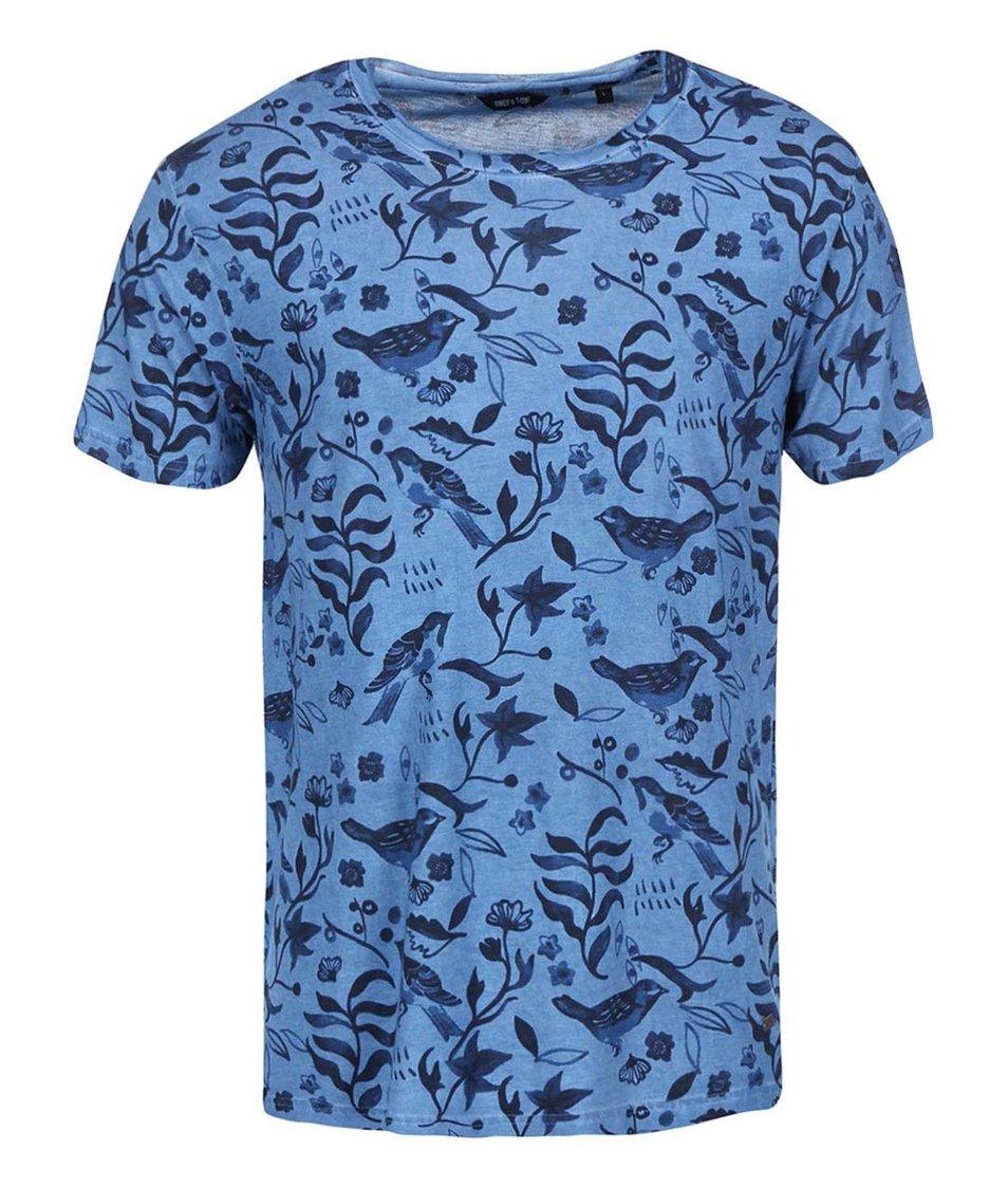 Modré vzorované triko ONLY & SONS Nill