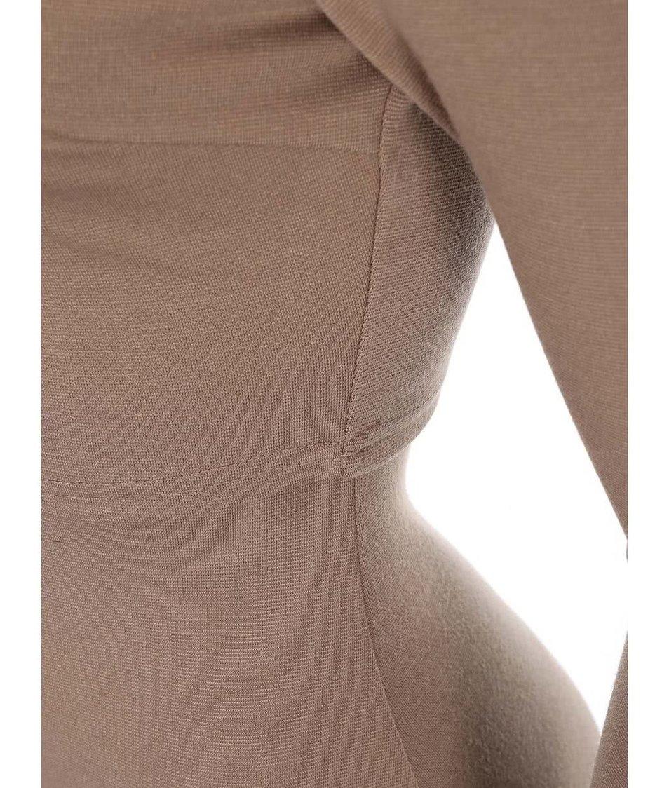 Světle hnědé přiléhavé šaty s dlouhými rukávy AX Paris