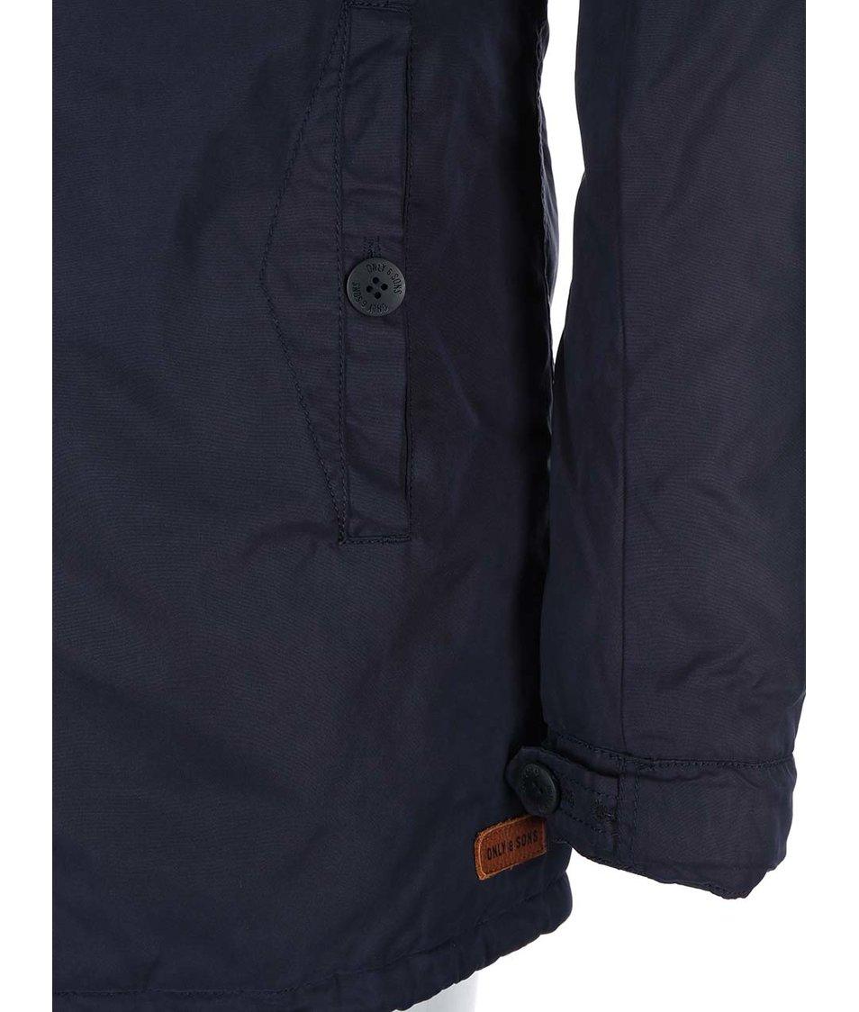 Tmavě modrá delší bunda s kapucí ONLY & SONS Sal