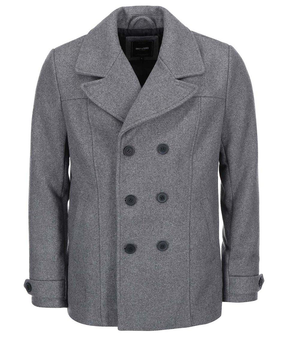 Šedý vlněný kabát ONLY & SONS Todd