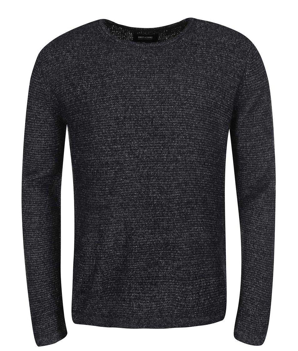 Černý žíhaný svetr ONLY & SONS Keon
