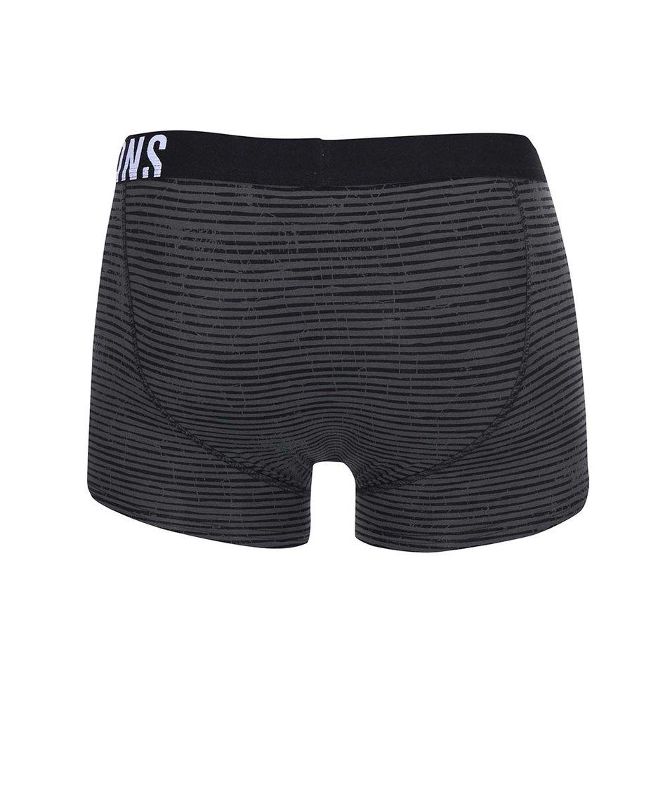 Černo-šedé pruhované boxerky ONLY & SONS Sid