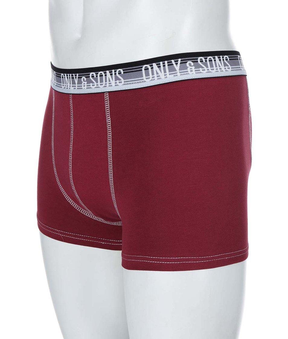 Vínové boxerky ONLY & SONS Simon