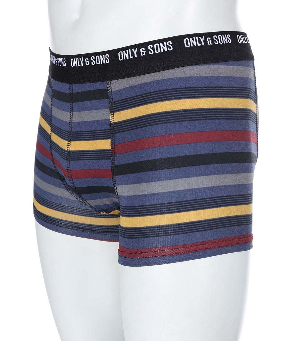 Modré boxerky s barevnými pruhy ONLY & SONS Stan