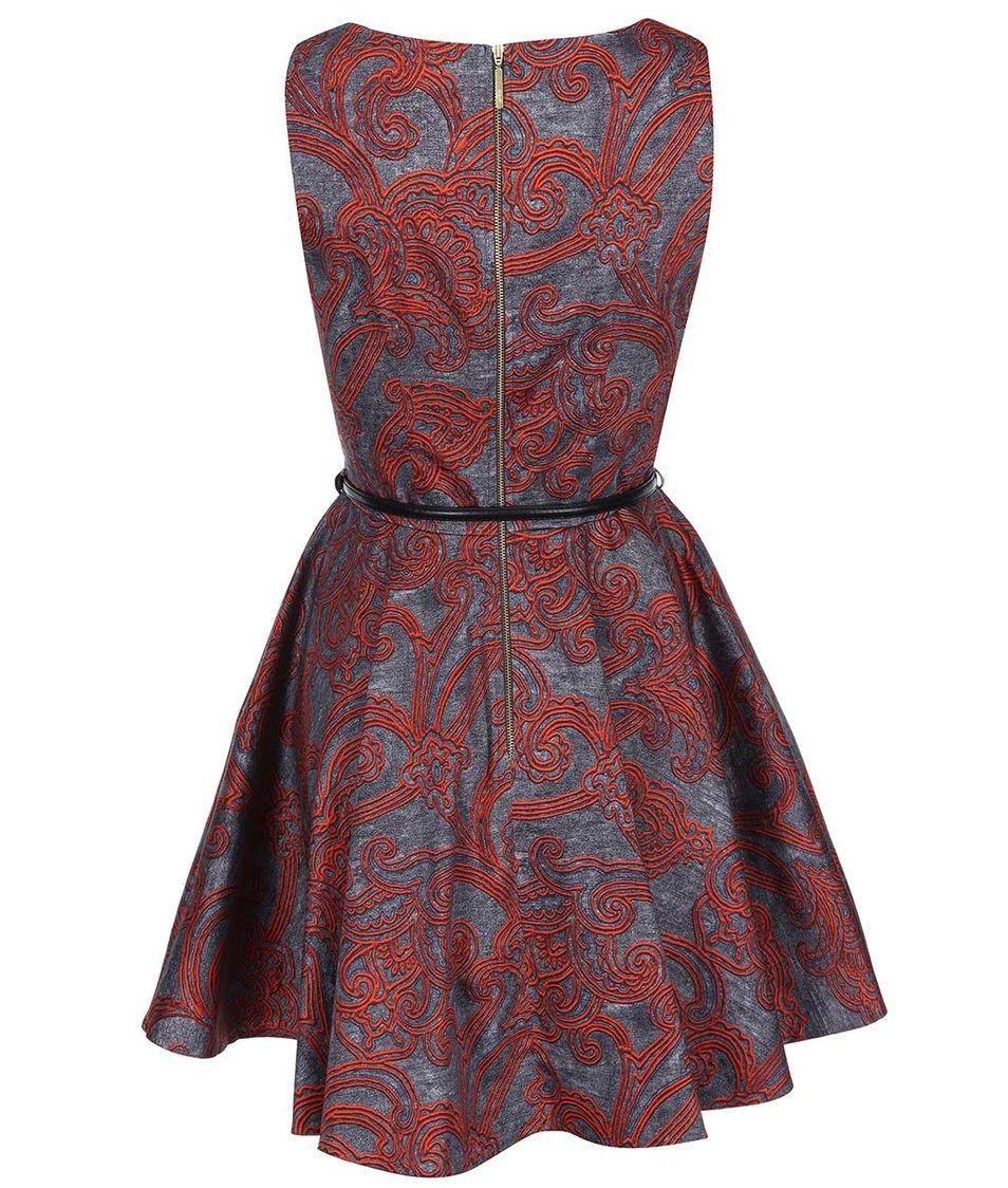 Šedé šaty s červeným vzorem Closet