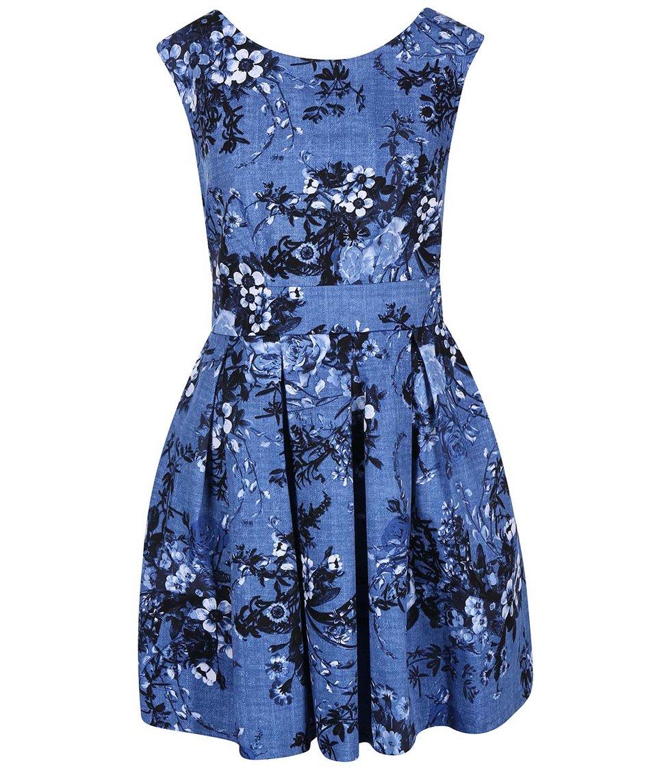 Tmavě modré šaty s květy Closet