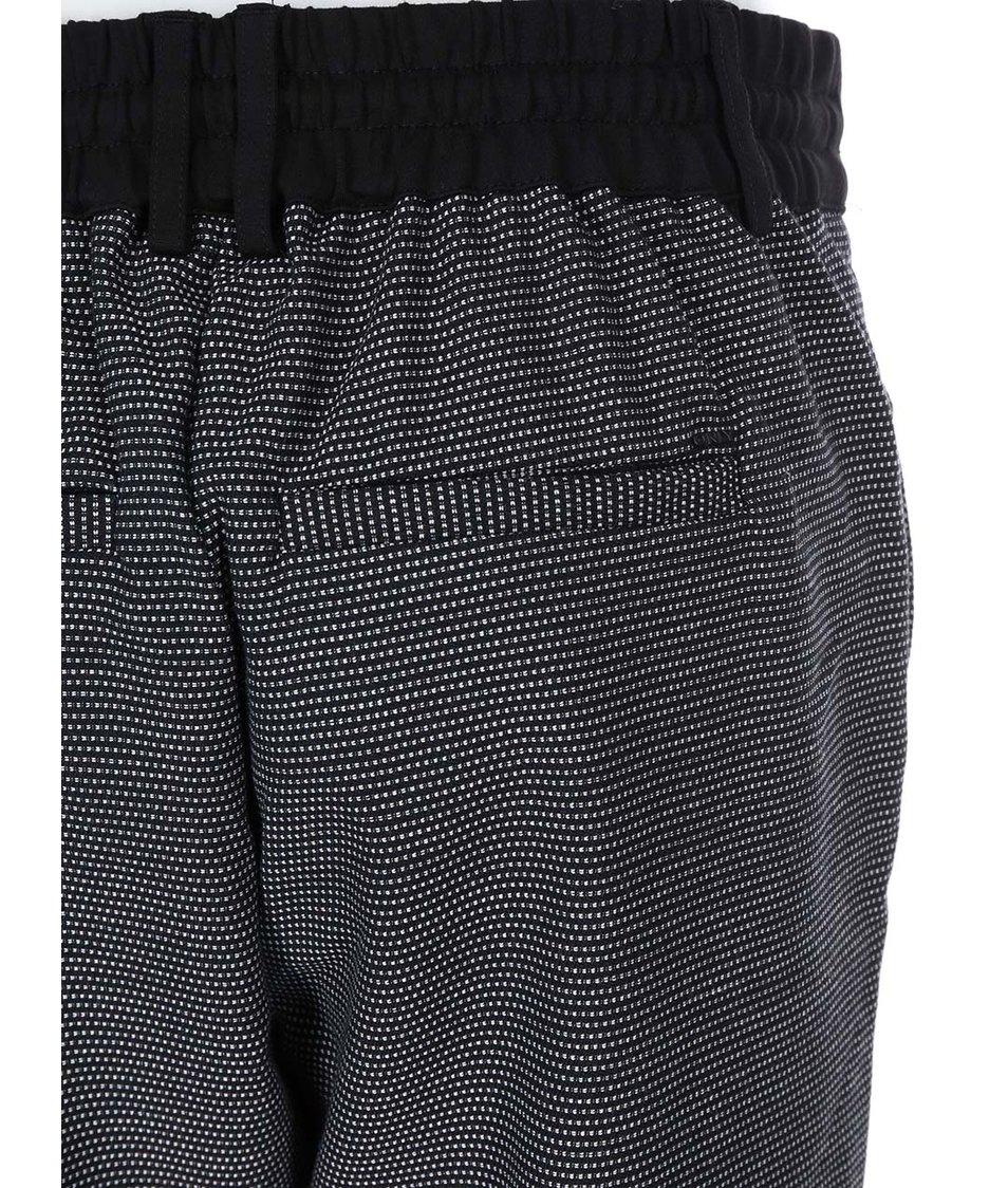 Bílo-černé kalhoty na zavazování v pase ONLY Poptrash