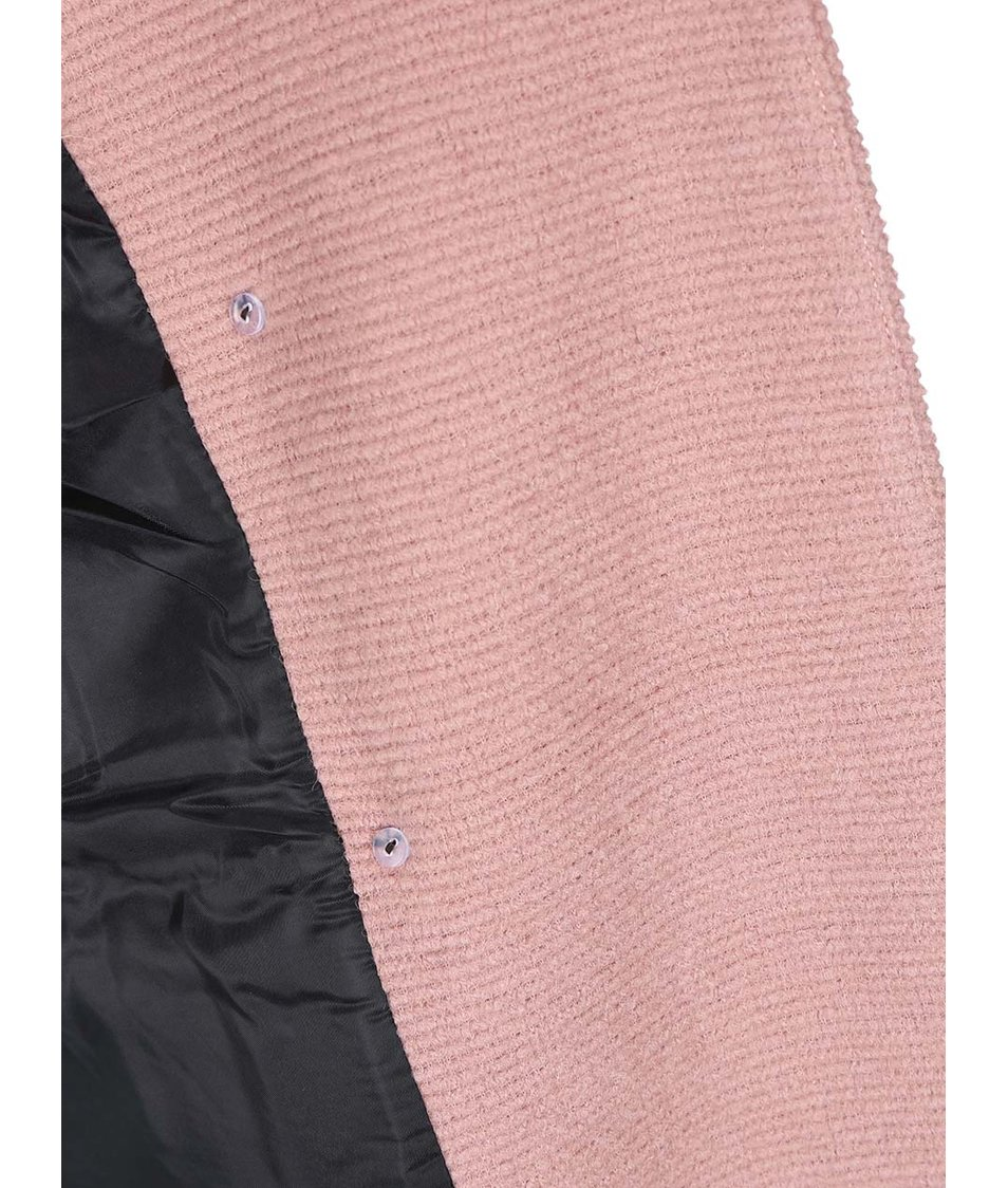 Růžový vlněný dvouřadý kabát ONLY Emmelie