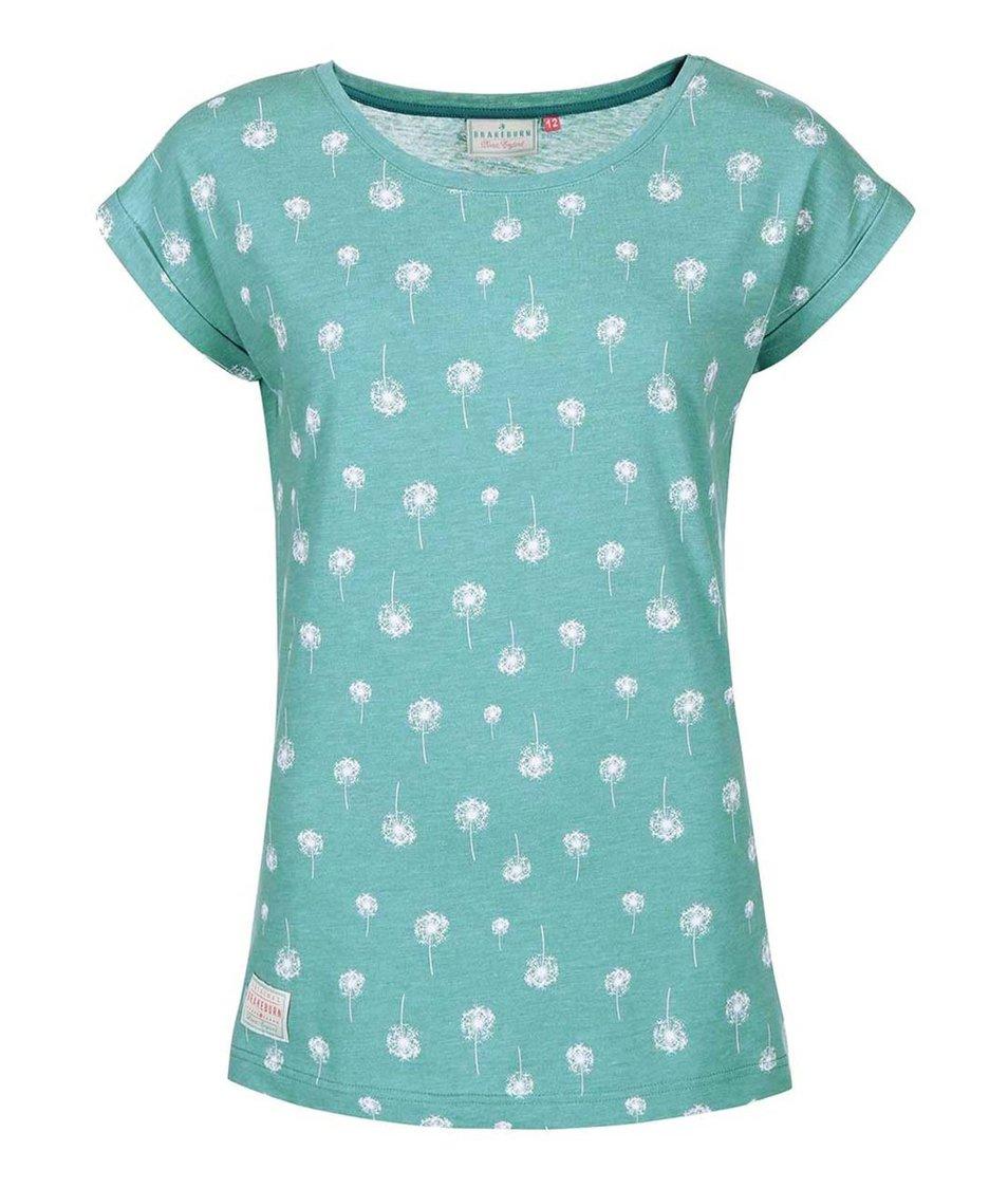 Zelenomodré dámské tričko s chmýřím z pampelišek Brakeburn Dandelion Boyfriend