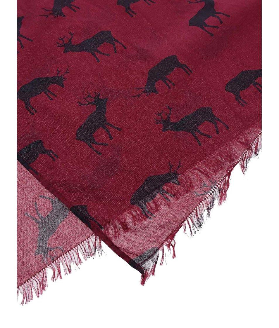 Vínový šátek s jeleny Brakeburn Fairisle