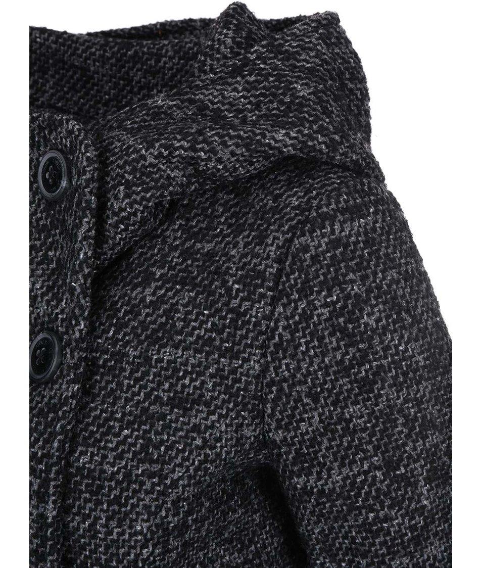 Tmavě šedý melírovaný kabát s kapucí ONLY Idea