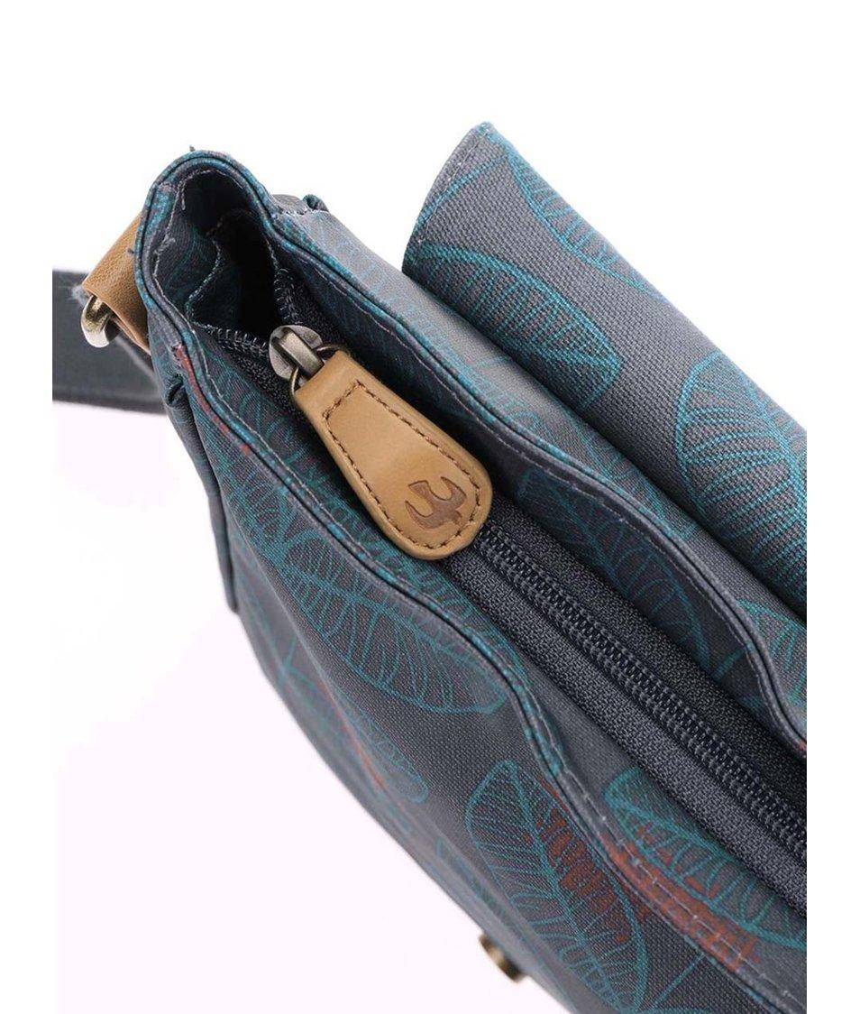 Šedá crossbody kabelka s modrými lístky Brakeburn Leaf