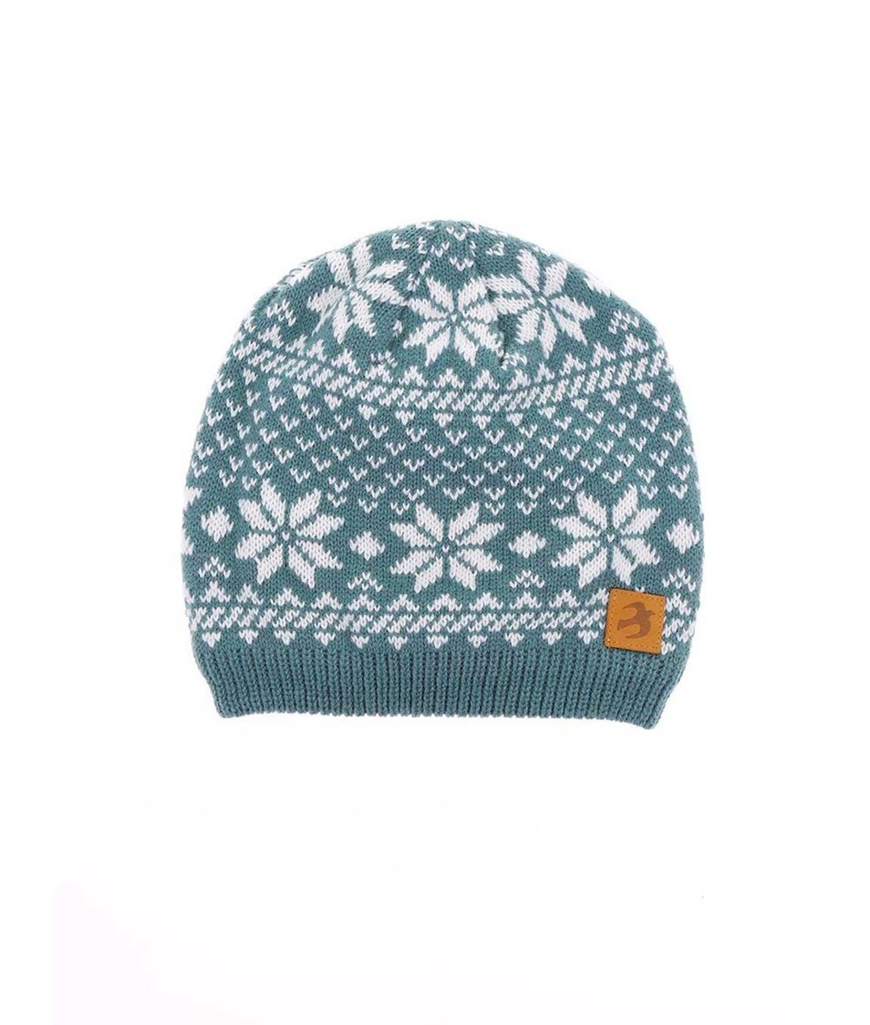 Světle modrá čepice s norskými vzory Brakeburn Fairisle