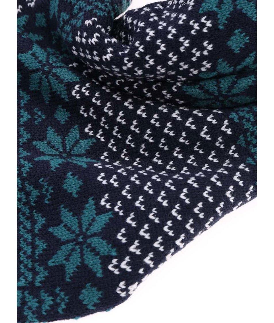 Tmavě modrá šála s norskými vzory Brakeburn Tassle Scarf