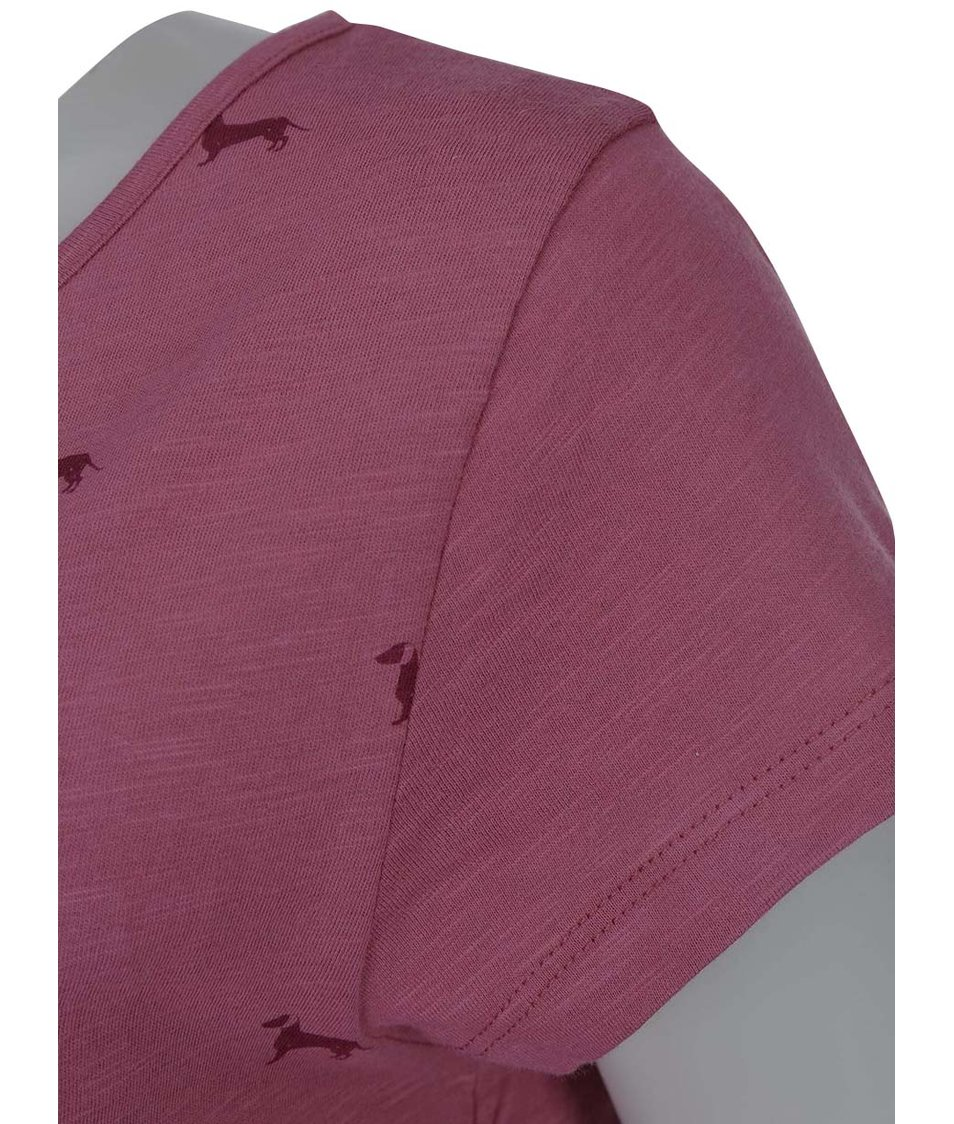 960d1fc5495a Tmavě růžové dámské tričko s potiskem psů Brakeburn Sausage Dog ...