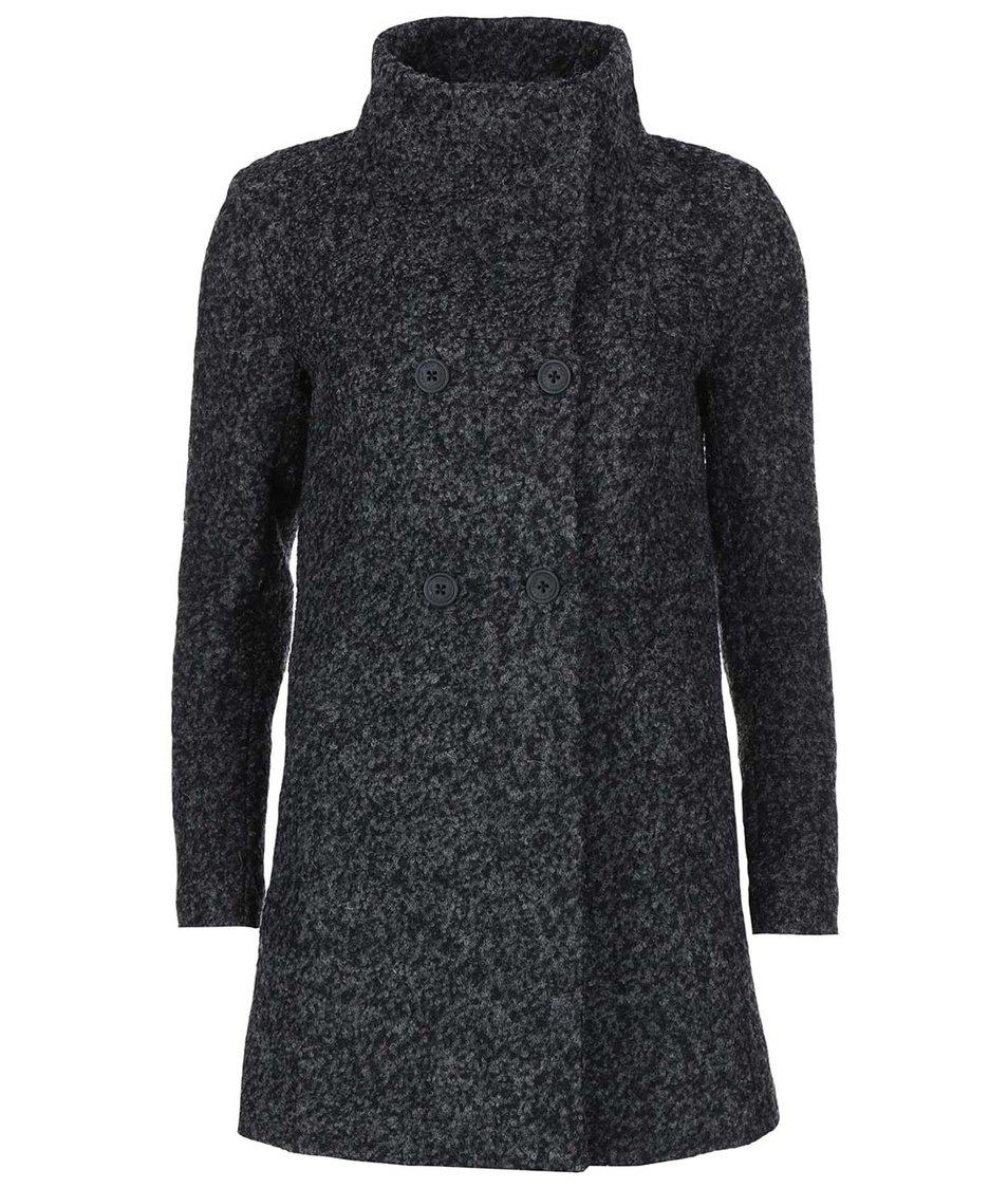 Tmavě šedý žíhaný kabát s límcem ONLY Sophia