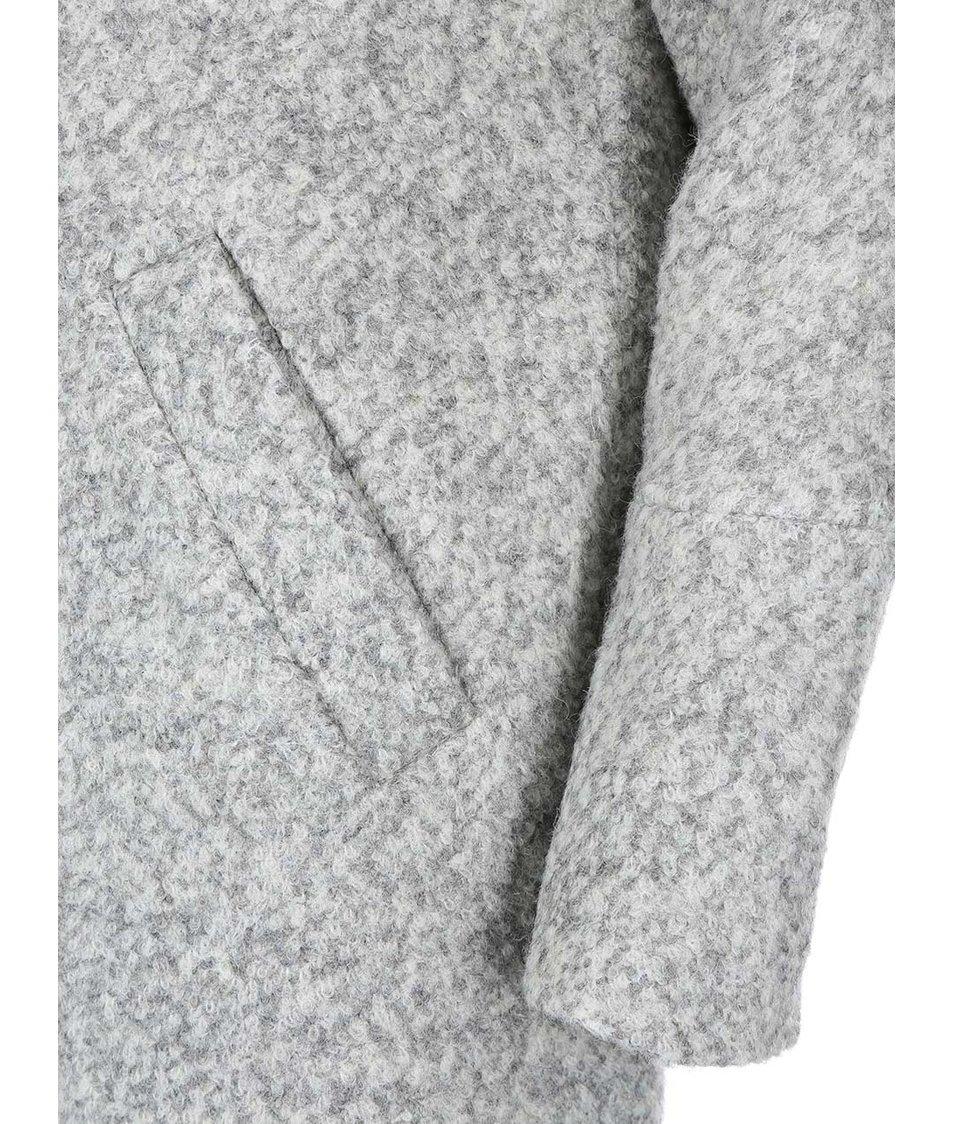 Světle šedý žíhaný kabát s límcem ONLY Sophia