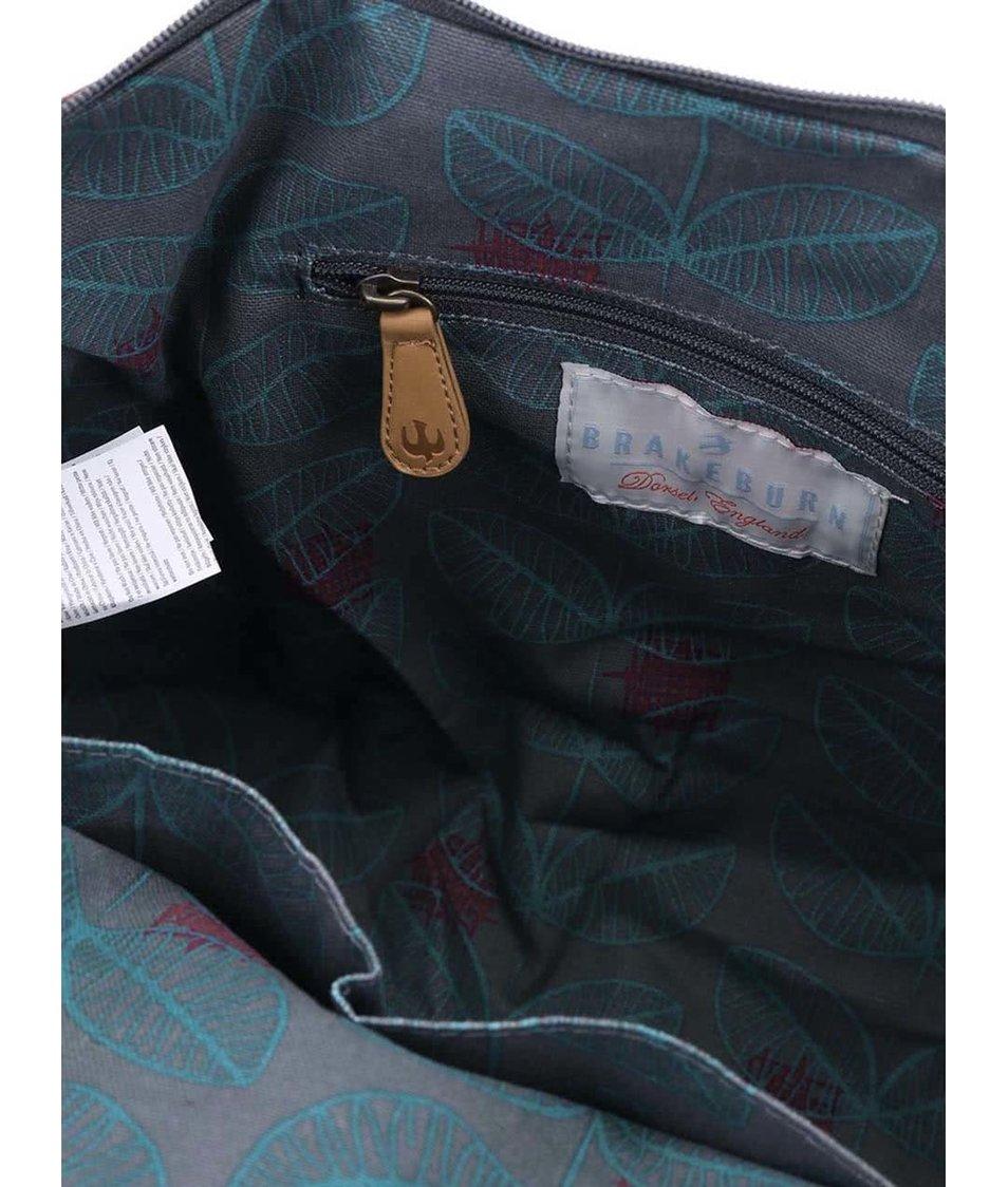 Šedá větší kabelka s modrými lístky Brakeburn Leaf