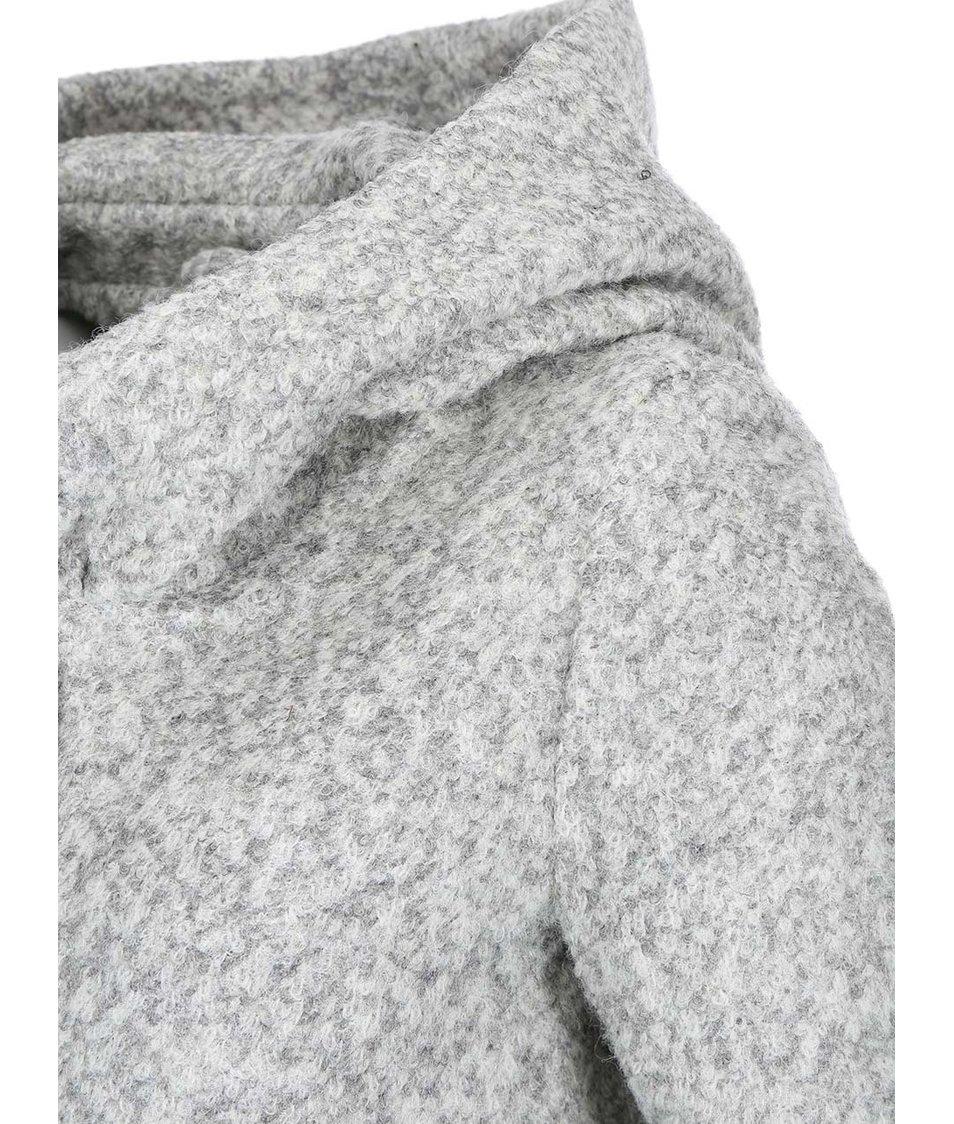 Světle šedý kabát s kapucí ONLY Indie