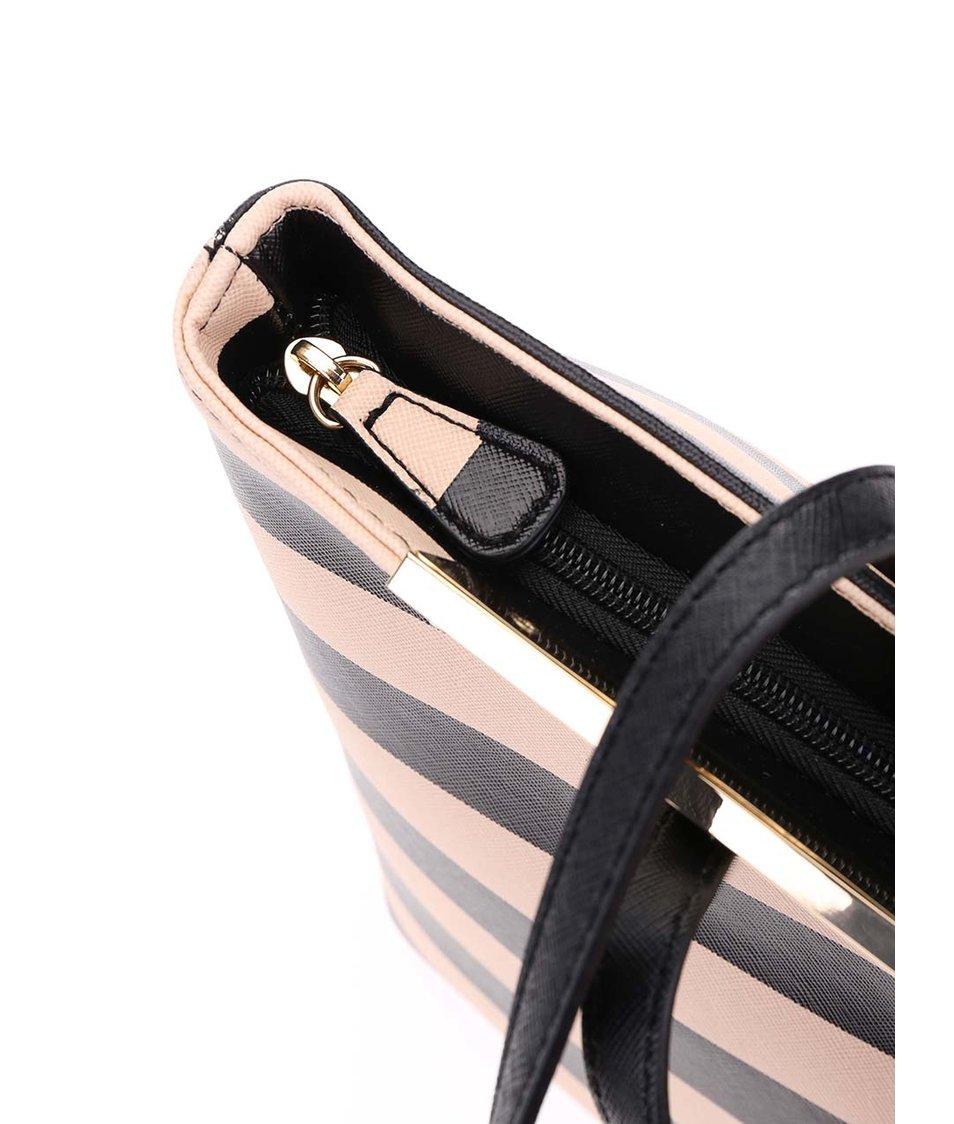 Béžovo-černá pruhovaná kabelka s kovovým detailem ALDO Vanwert
