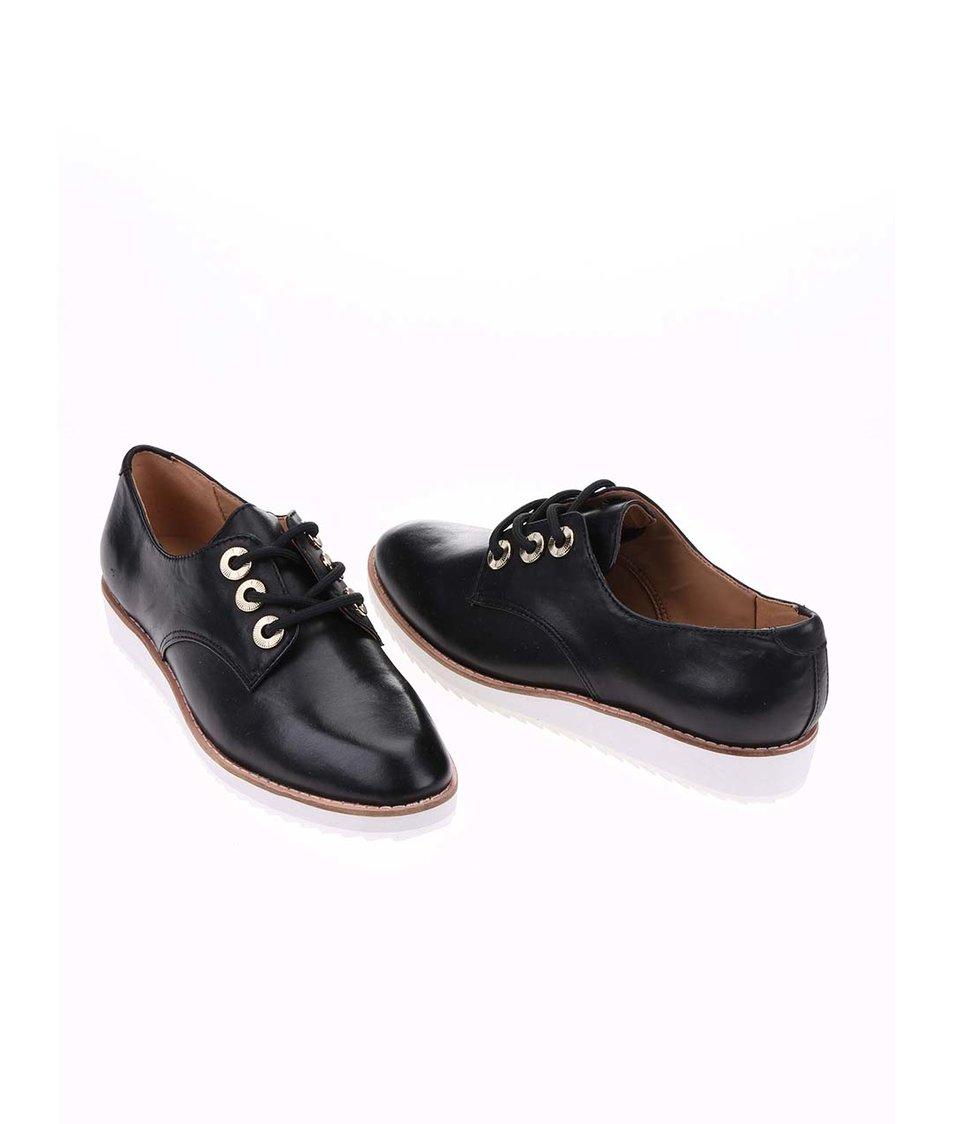 Černé kožené boty na vyšší podrážce ALDO Brirani