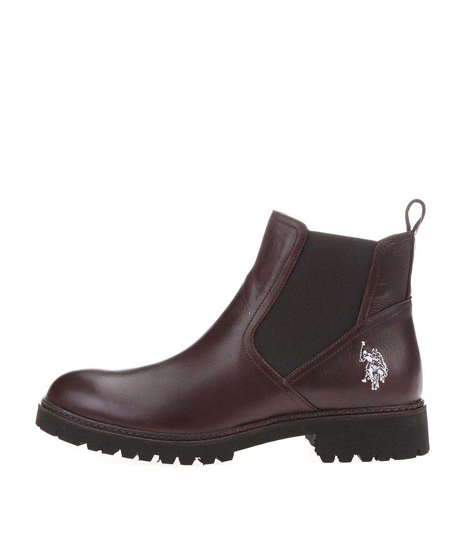 Tmavě hnědé dámské kožené chelsea boty U.S. Polo Assn. Marine
