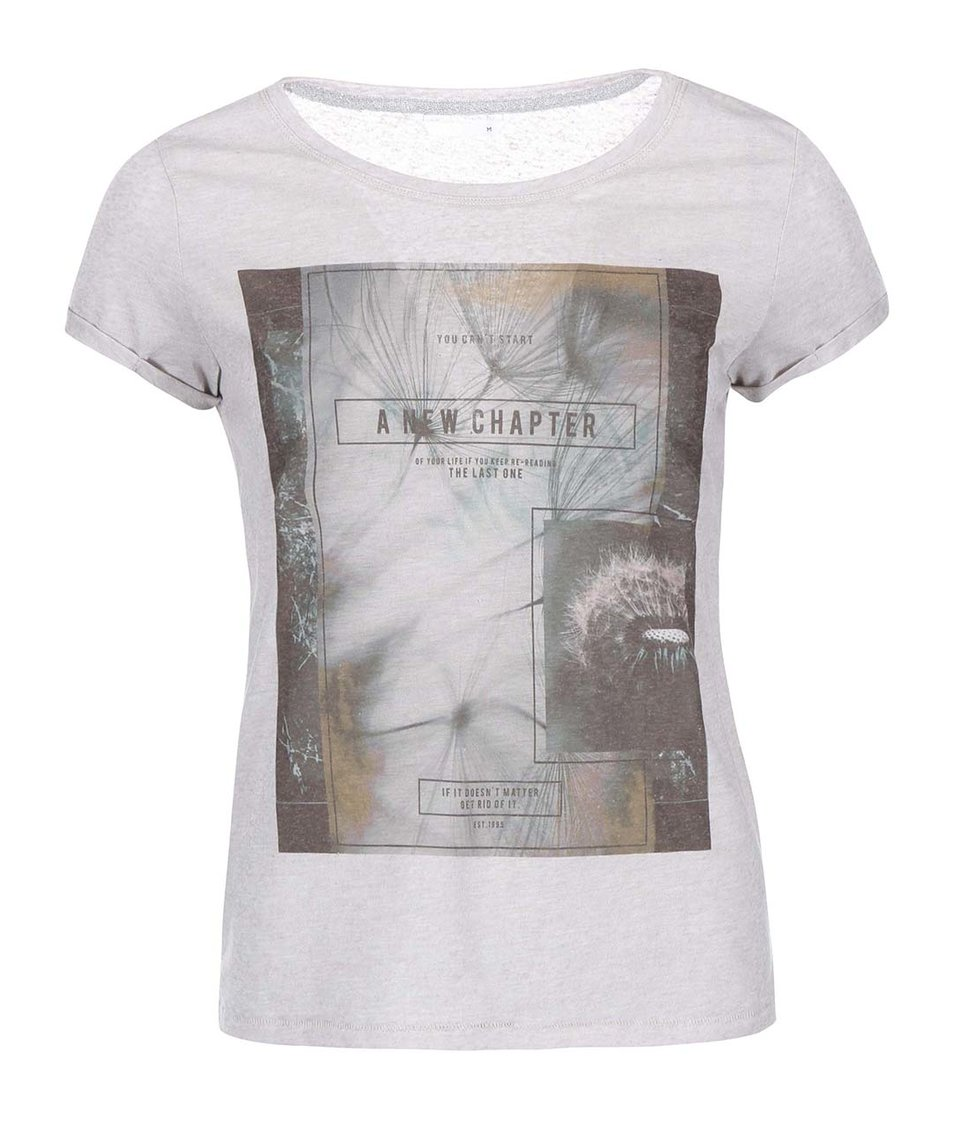 Šedé tričko s potiskem ONLY Milla Chapter