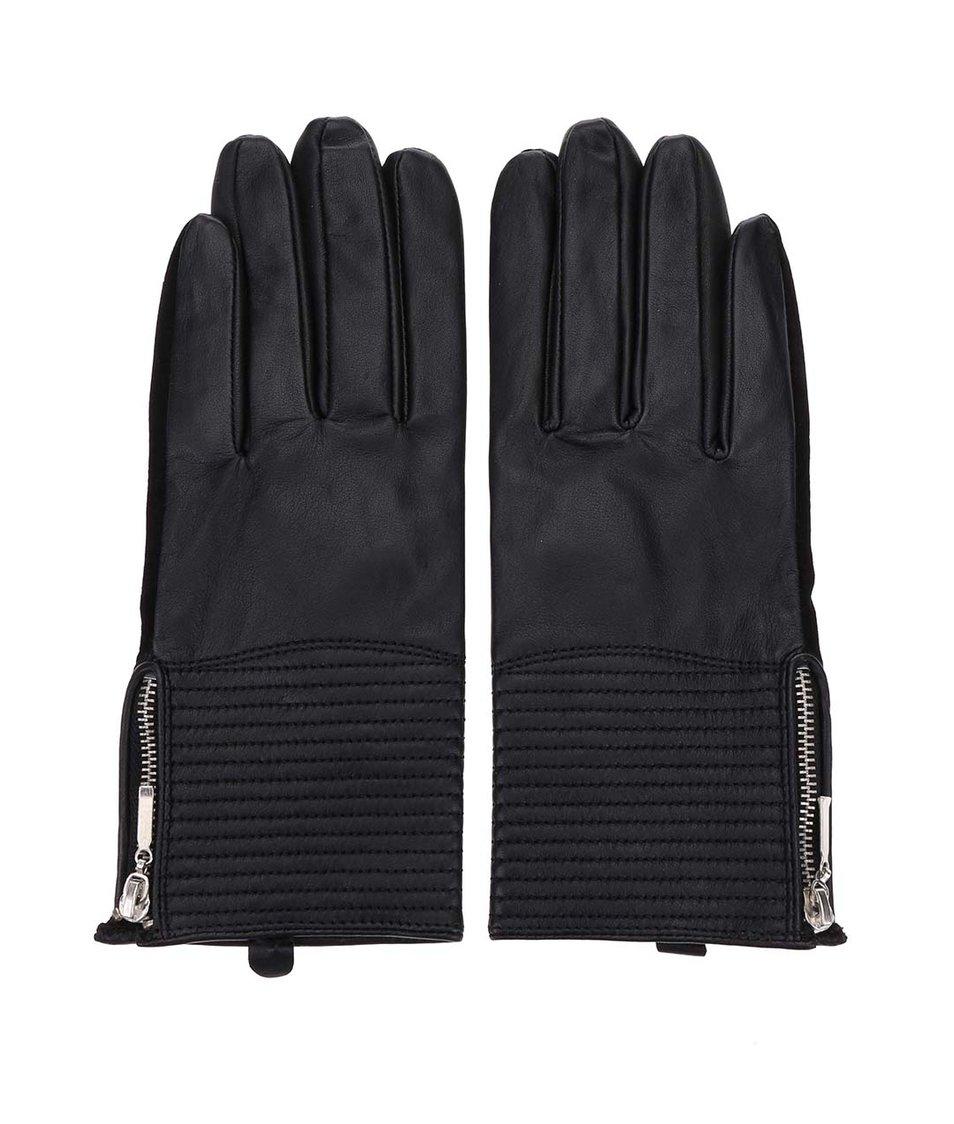 Černé kožené rukavice ONLY Alexandra