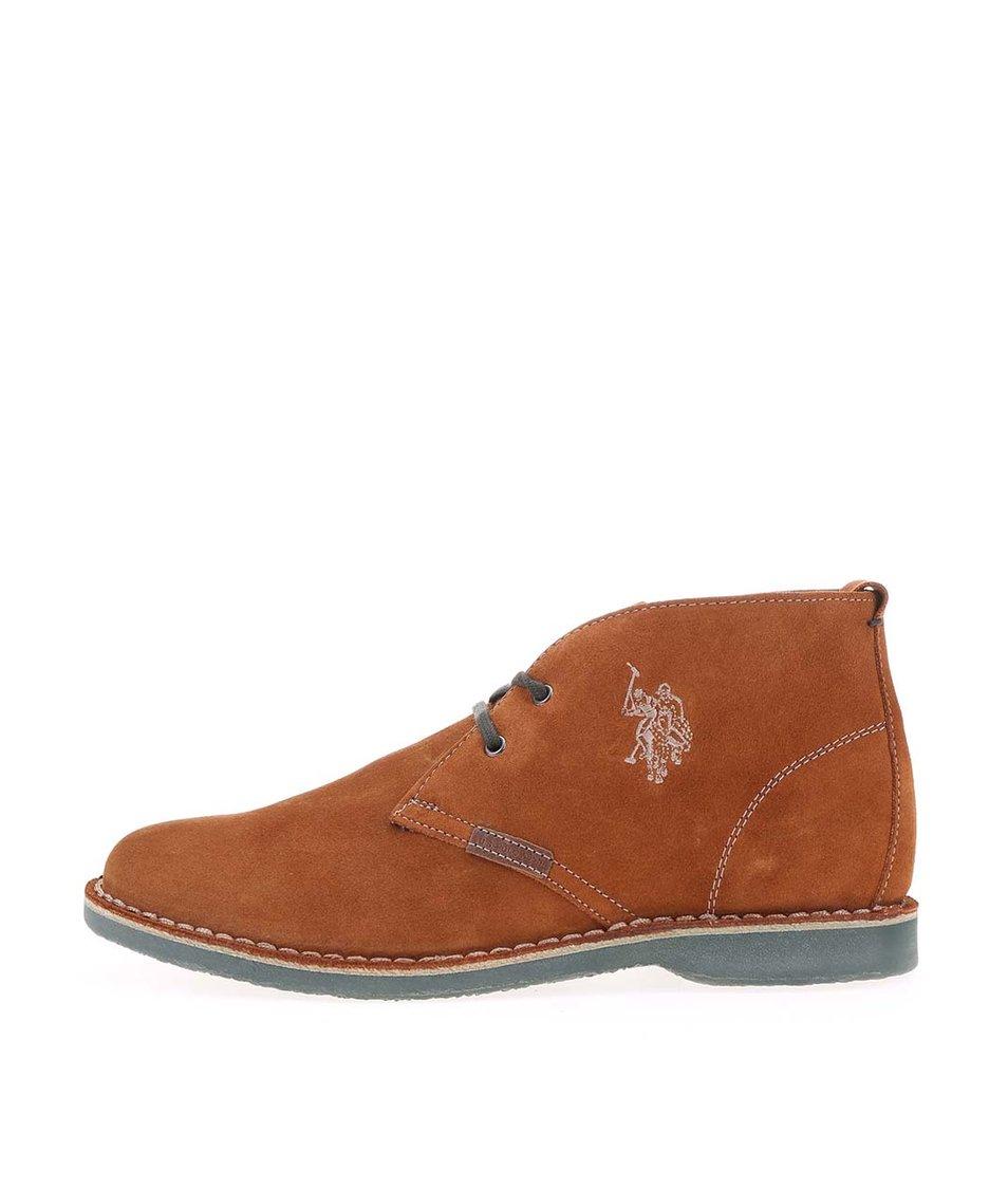 Hnědé dámské kožené boty U.S. Polo Assn. Glenda4